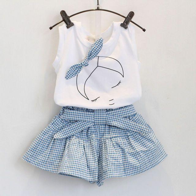 2 unids   1-7 años del estilo   del verano ropa de bebé niñas establece  historieta linda 100% de algodón sin mangas T-shirt + Shorts Band Kids ropa  ... 72b04dc5d268