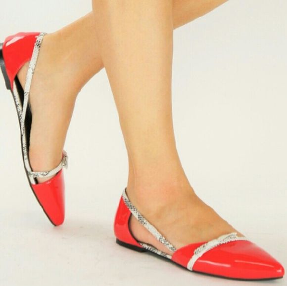 """Coco-1 """"SALE NO OFFERS PLEASE"""" COCO-1 ~ Pointed-toe Flats with Faux Snakeskin Straps Shoes Flats & Loafers"""