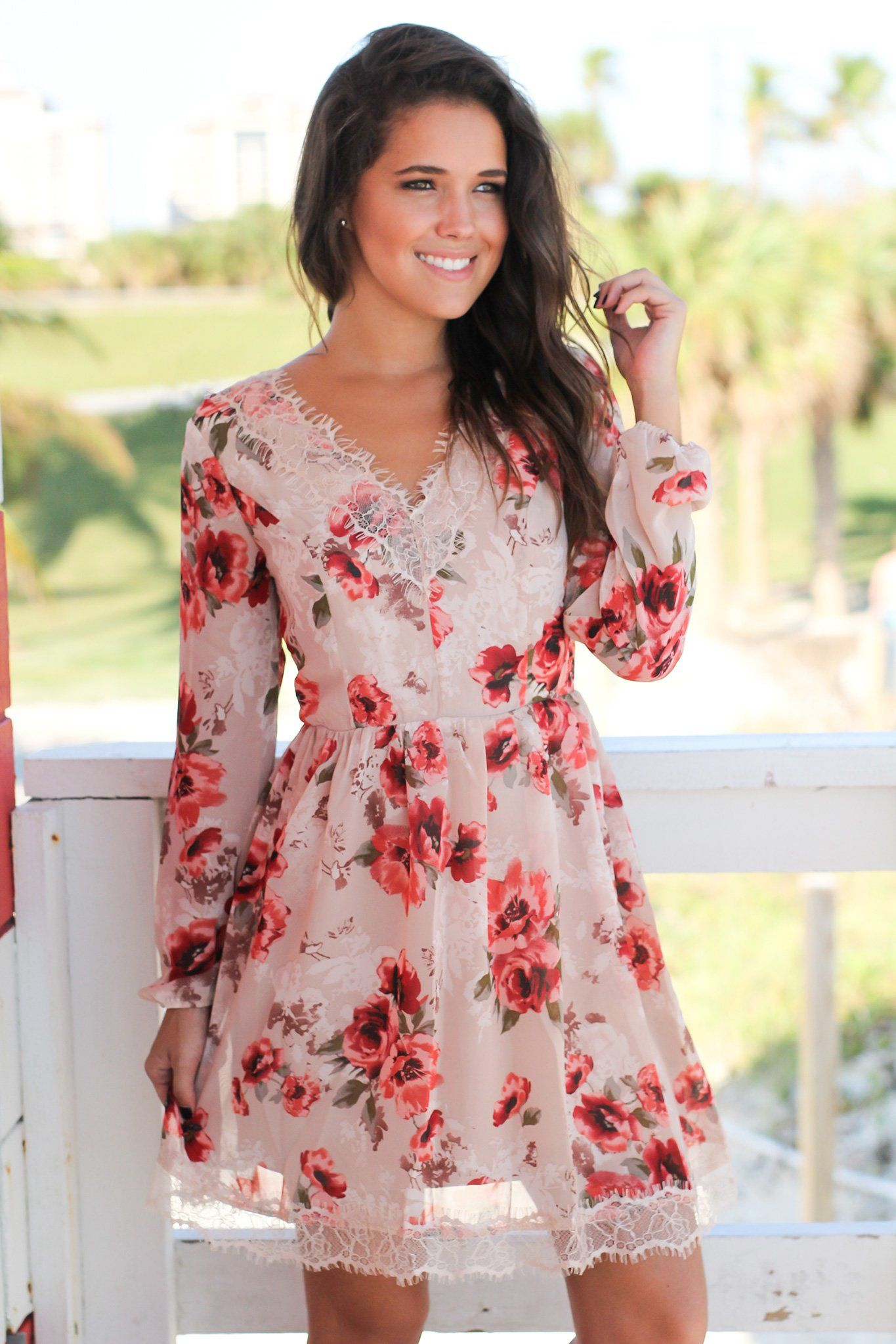 Taupe floral short dress with lace up back floral shorts taupe