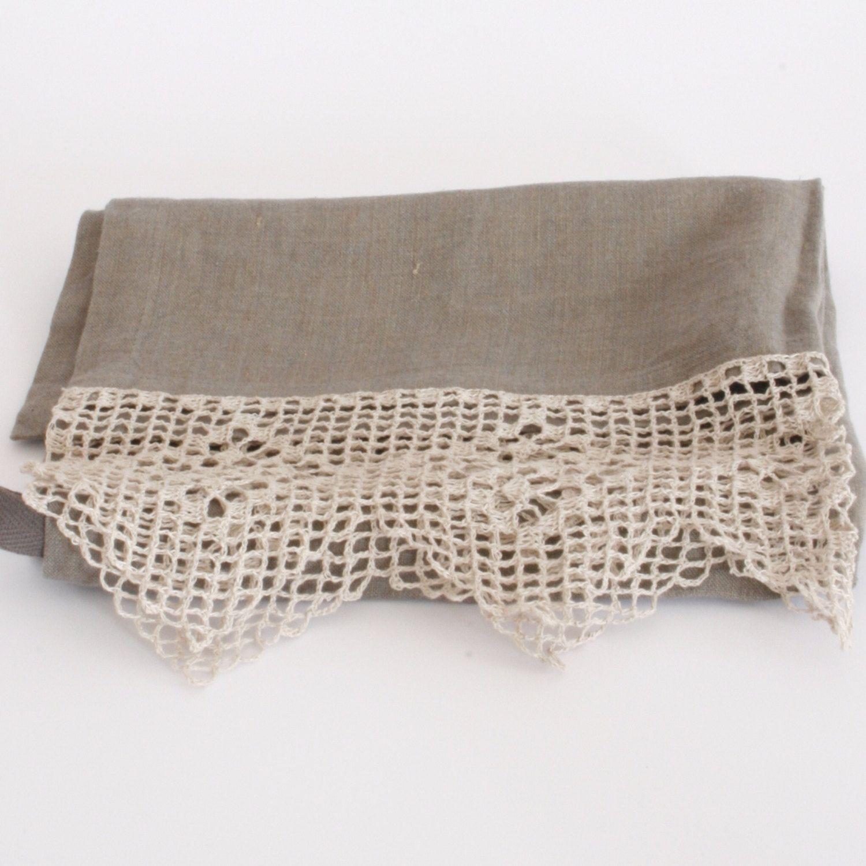 linen lace tea towel textiles lace linens lace. Black Bedroom Furniture Sets. Home Design Ideas