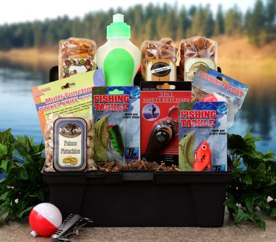 Fathers day gone fishing gift basket tackle box gear for Fishing gift basket