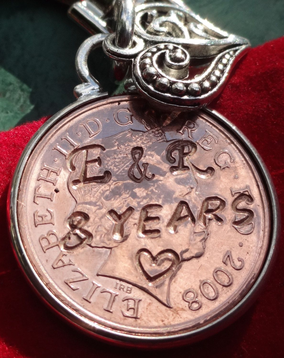 8th year 2011 wedding anniversary copper gift personalised