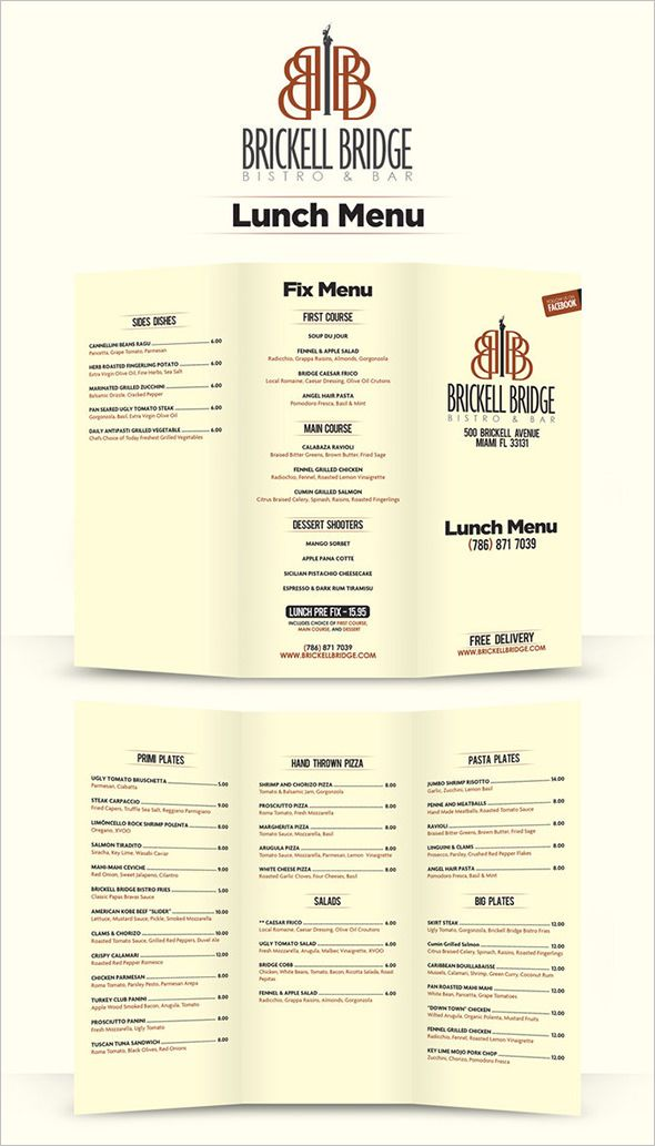 Lunch Menu Template - 32+ Free Word, PDF, PSD, EPS, InDesign Format - lunch menu template free