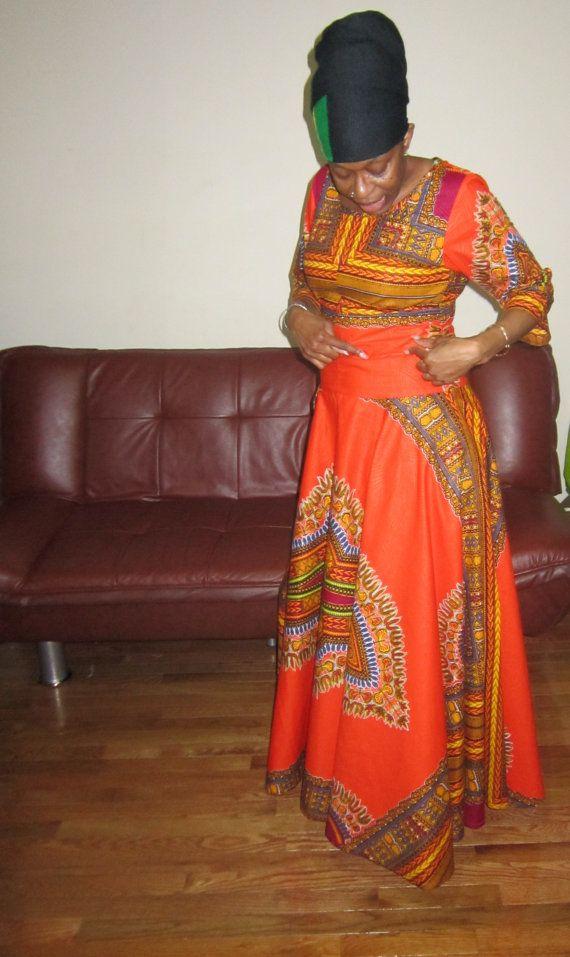 Dashki Fabric African Fashion Ankara Kitenge African: Dashiki Print Maxi Dress ~African Fashion, Ankara, Kitenge