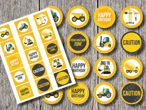 Water Bottle Labels PARTY PACKAGE ~ Construction Birthday Party Printable Package -Boy/'s Birthday Party Cupcake Topper Favor Treat Topper