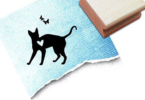 Stempel Motivstempel Kinderstempel Katze mit Herz u