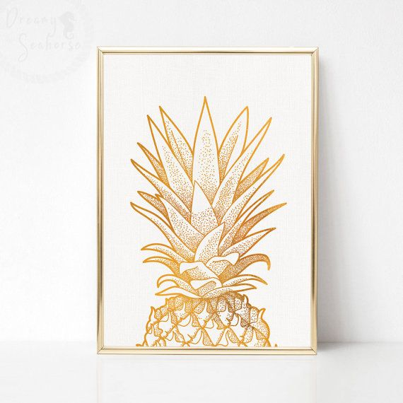 Gold Pineapple Print Art Party White Wall Poster Printable Decor