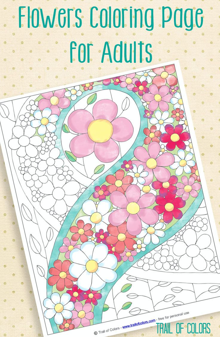 Adults and coloring books - Free Flowers Coloring Page