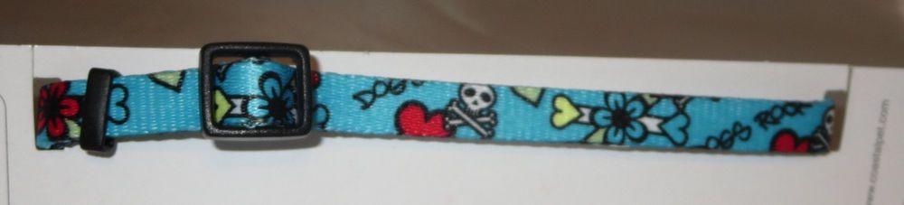 "XS Dog Collar Blue Skulls Crossbones Flowers Dogs Rock 8-12"" Neck 3/8"" New Heart #Coastal"