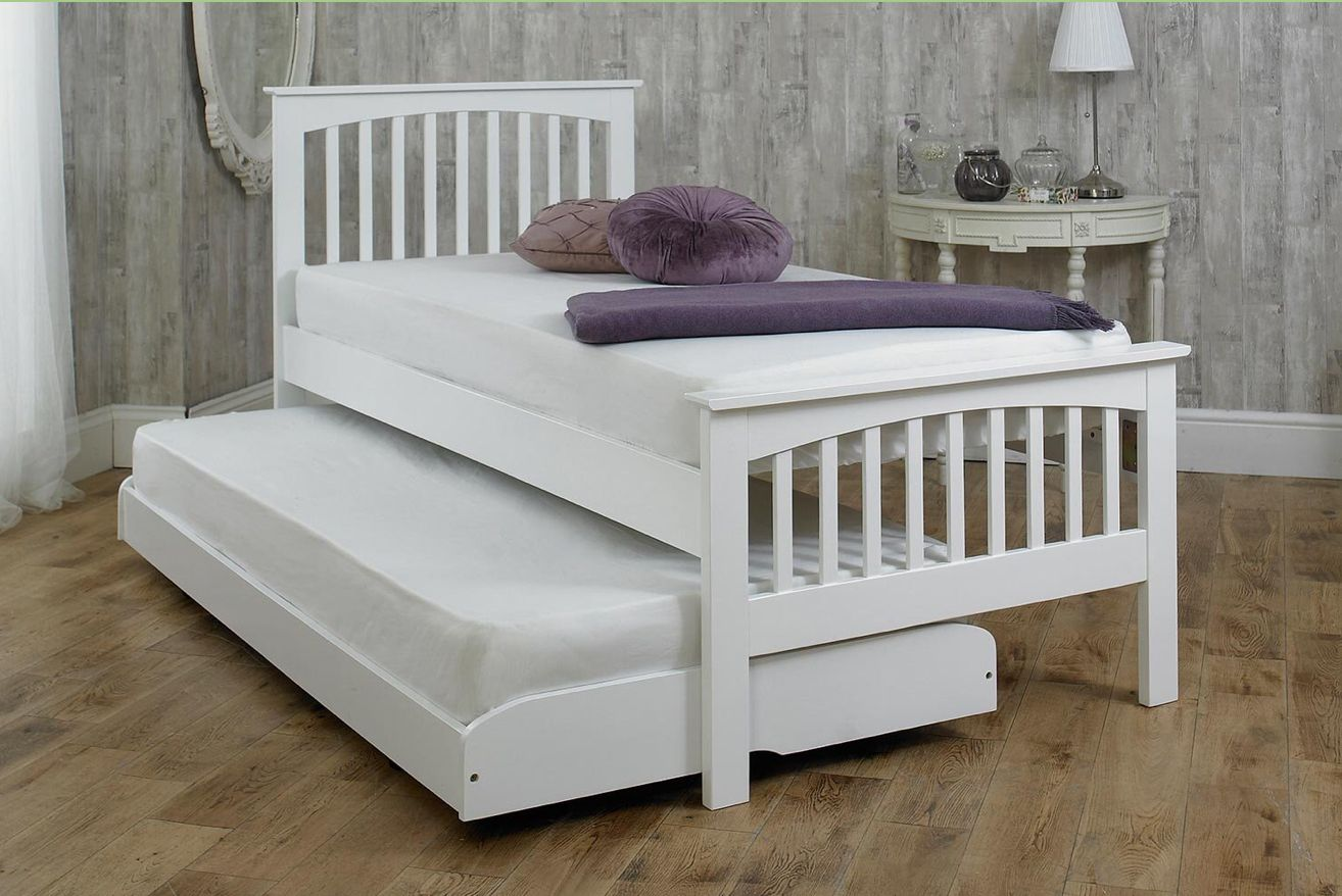 Heywood White Solid Wood Guest Bed 3ft Single Trundle