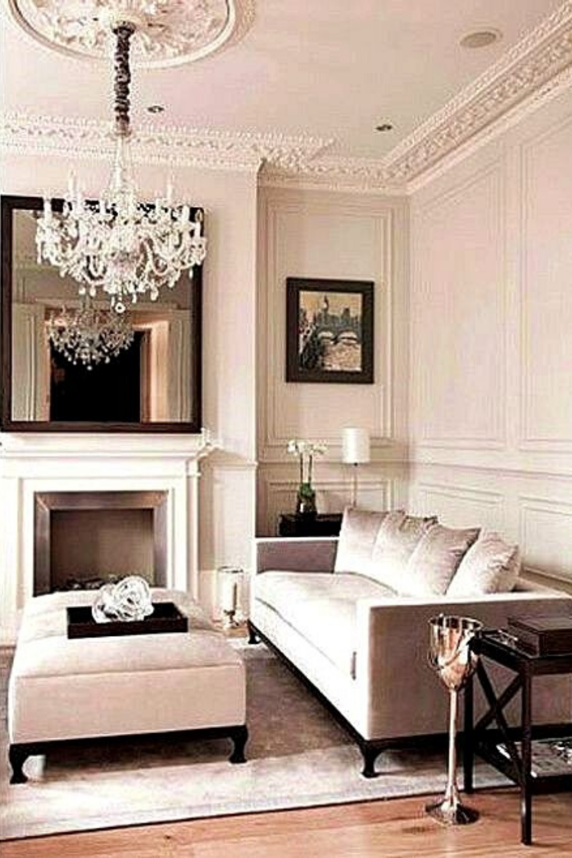 Inspiration Décoration Salon Wall Molding Living Room Luxury Living Room Glamorous Living Room