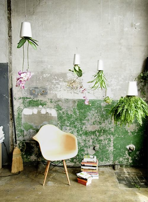 chair upside down on wall cardboard designs nice mix between old paint concrete flowers and eames home put your plants space saving solution for at boskke sky planter