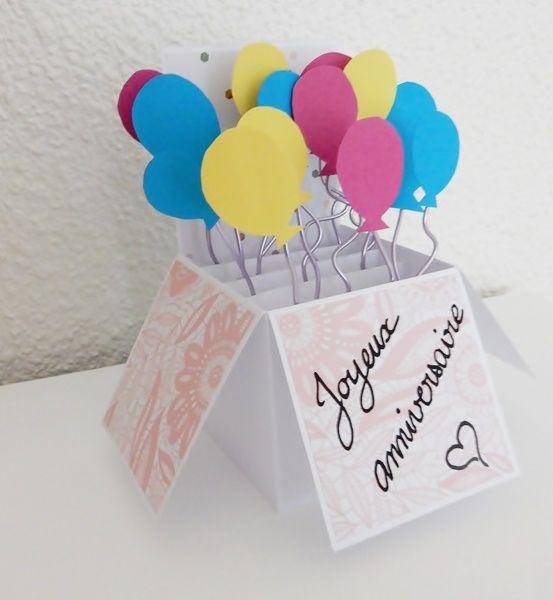 Carte Pop Up Boite Ballons Diy Carte Anniversaire Carte Anniversaire Boite Anniversaire