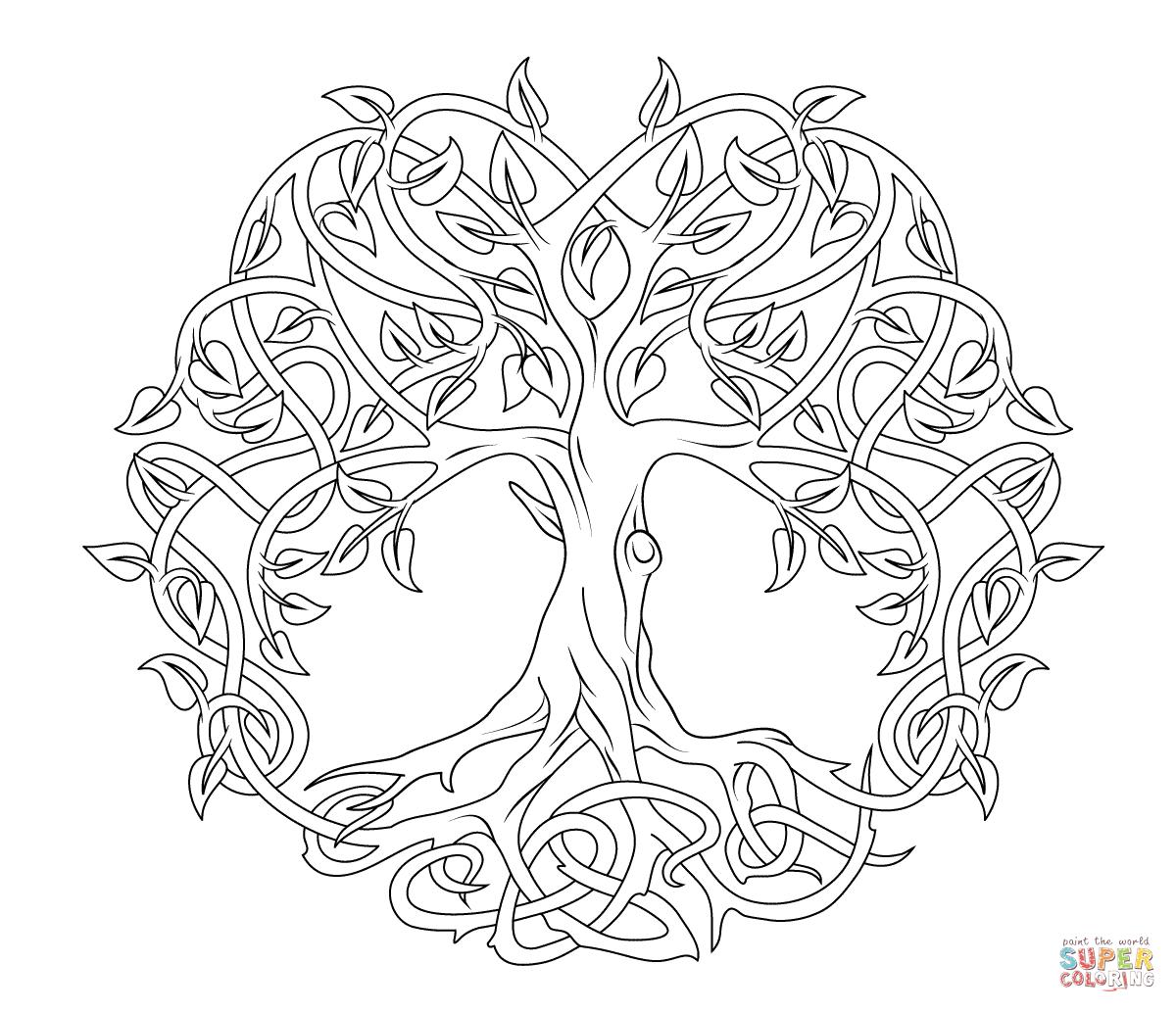 keltischer lebensbaum super coloring mandala. Black Bedroom Furniture Sets. Home Design Ideas