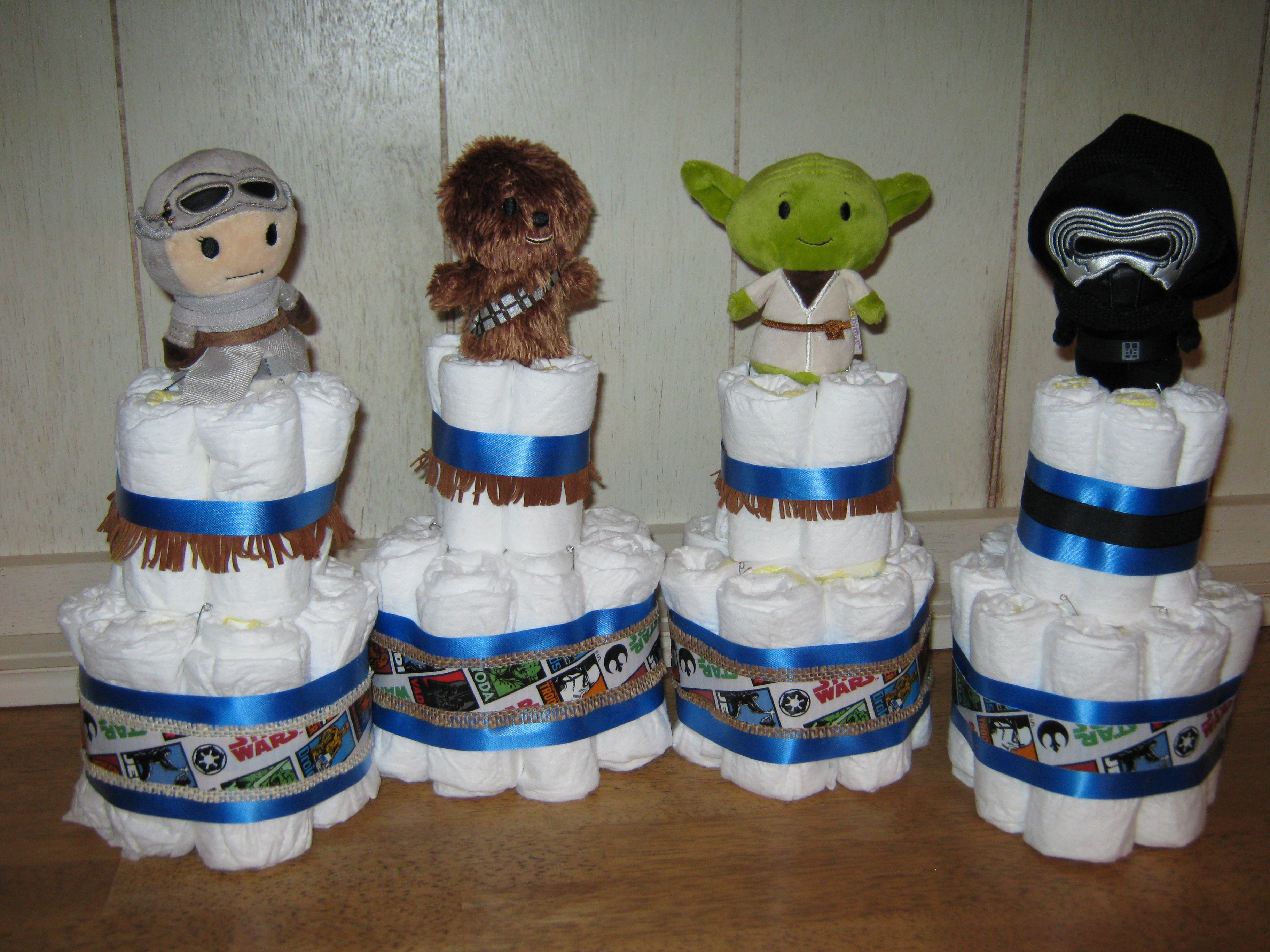 Star Wars Diaper cakes for baby shower made with Hallmark Itty