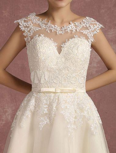 Spitze Hochzeit Kleid kurze Illusion Vintage Brautkleid rückenfrei ...