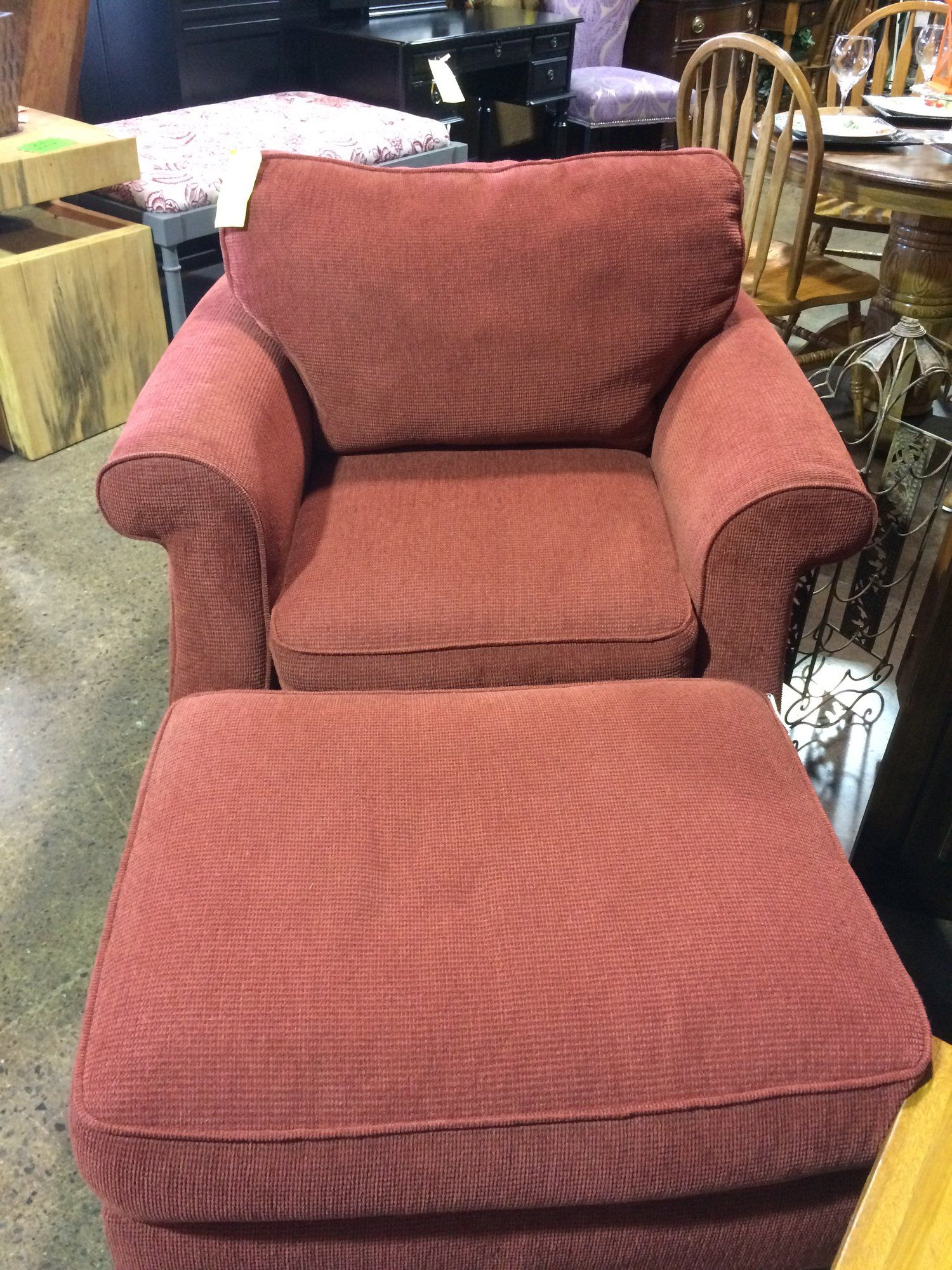 Sink Into This Comfy Chair Put Your Feet Up On The Upholstered Ottoman You Are Now Ready To Watch A Movie Or Red Velvet Chair Comfy Chairs Chair And Ottoman