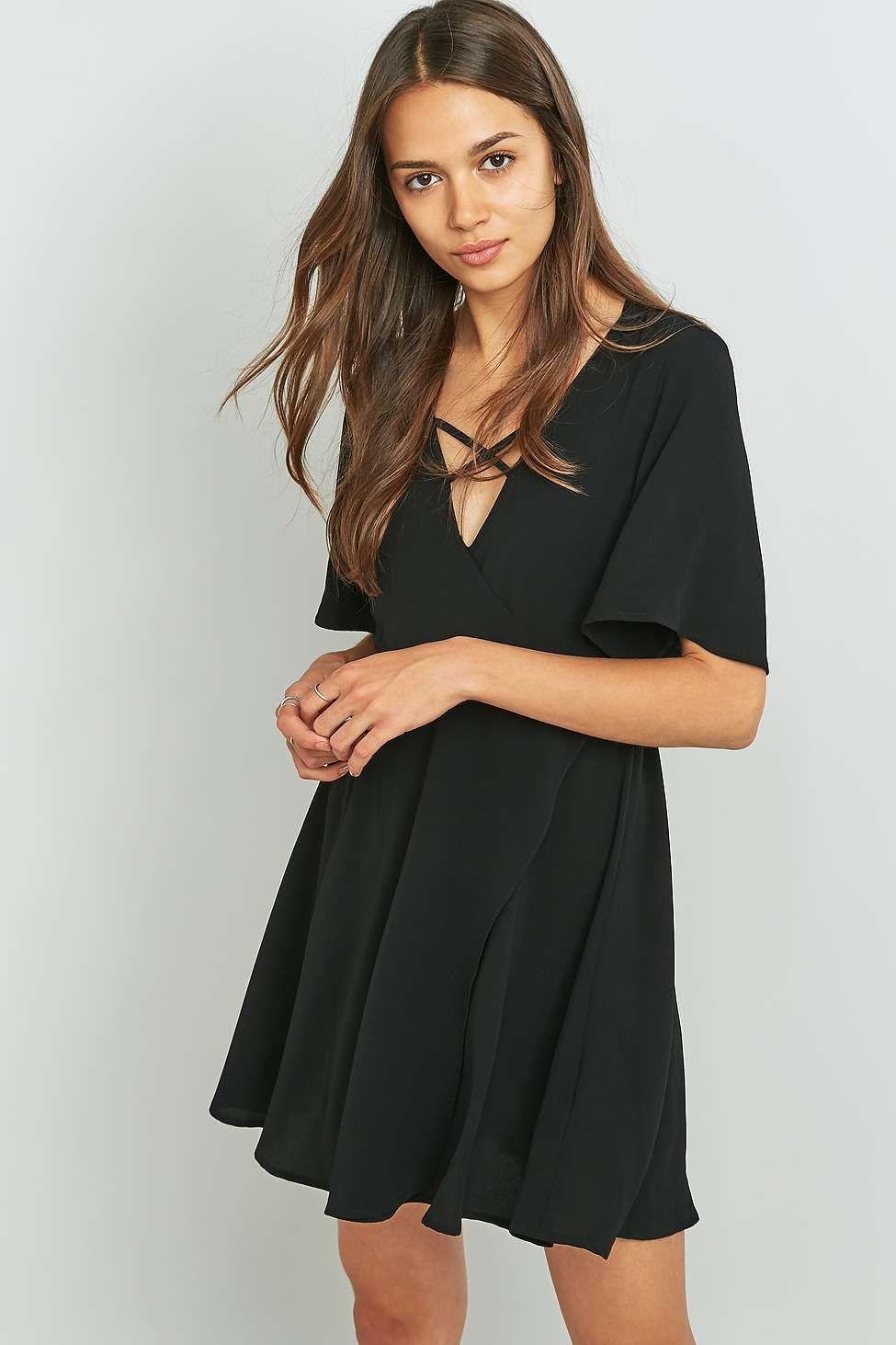 f90bf47f8a1 Pins   Needles Cross Front Black Wrap Dress