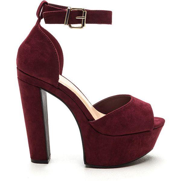 Fine Vintage Chunky Platform Heels BURGUNDY (€20) ❤ liked on ...