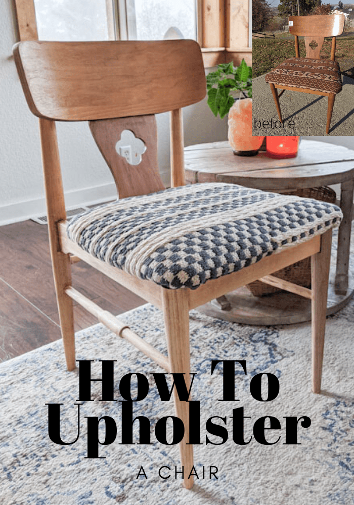 Use A Woven Rug To Reupholster A Chair Upholstered Chairs Diy Recovering Chairs Home Decor