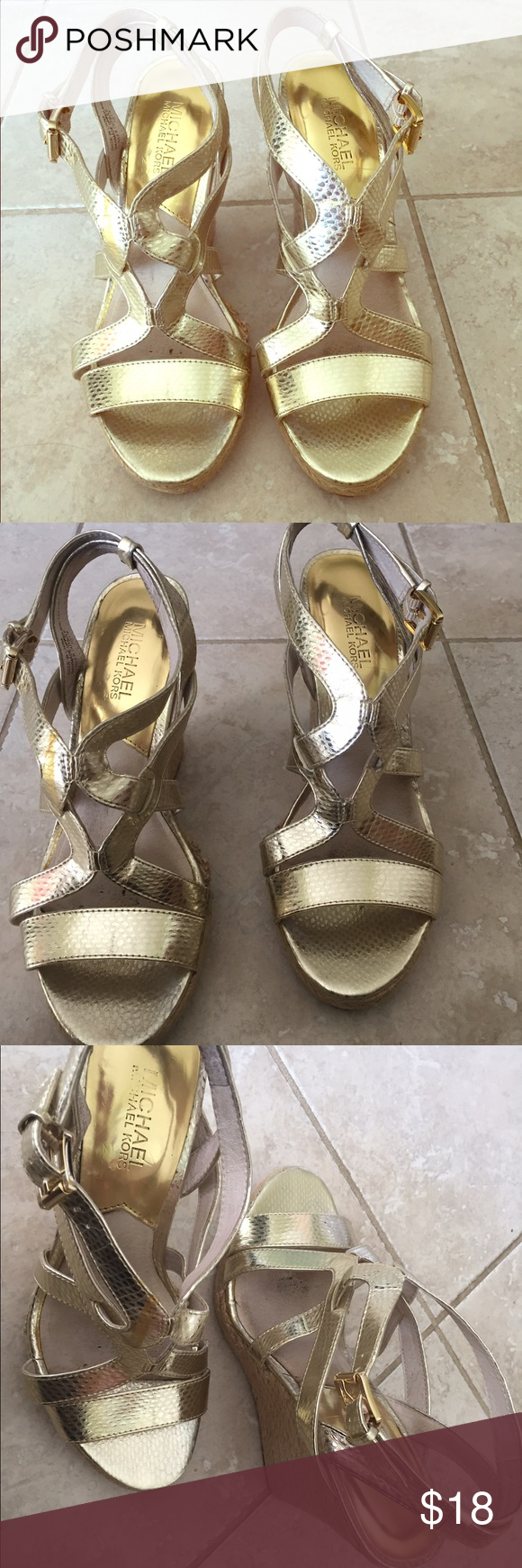 MICHAEL BY Michael Kors Gold Wedges Sz 8 Michael by MK Gold Wedges. Cover shot is true gold color, they're shimmery and beautiful. Size 8. Worn for a weekend in Vegas, so not like new, but very good condition. Make an offer. Only getting rid of because they no longer fit after having babies! MICHAEL Michael Kors Shoes