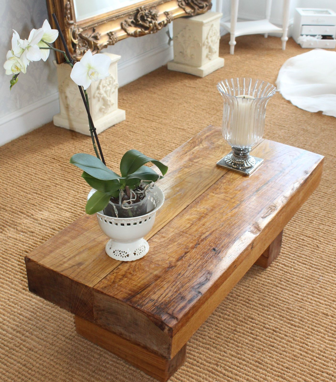 Details About Coffee Table Solid Oak New Rustic Chunky Oak Beam