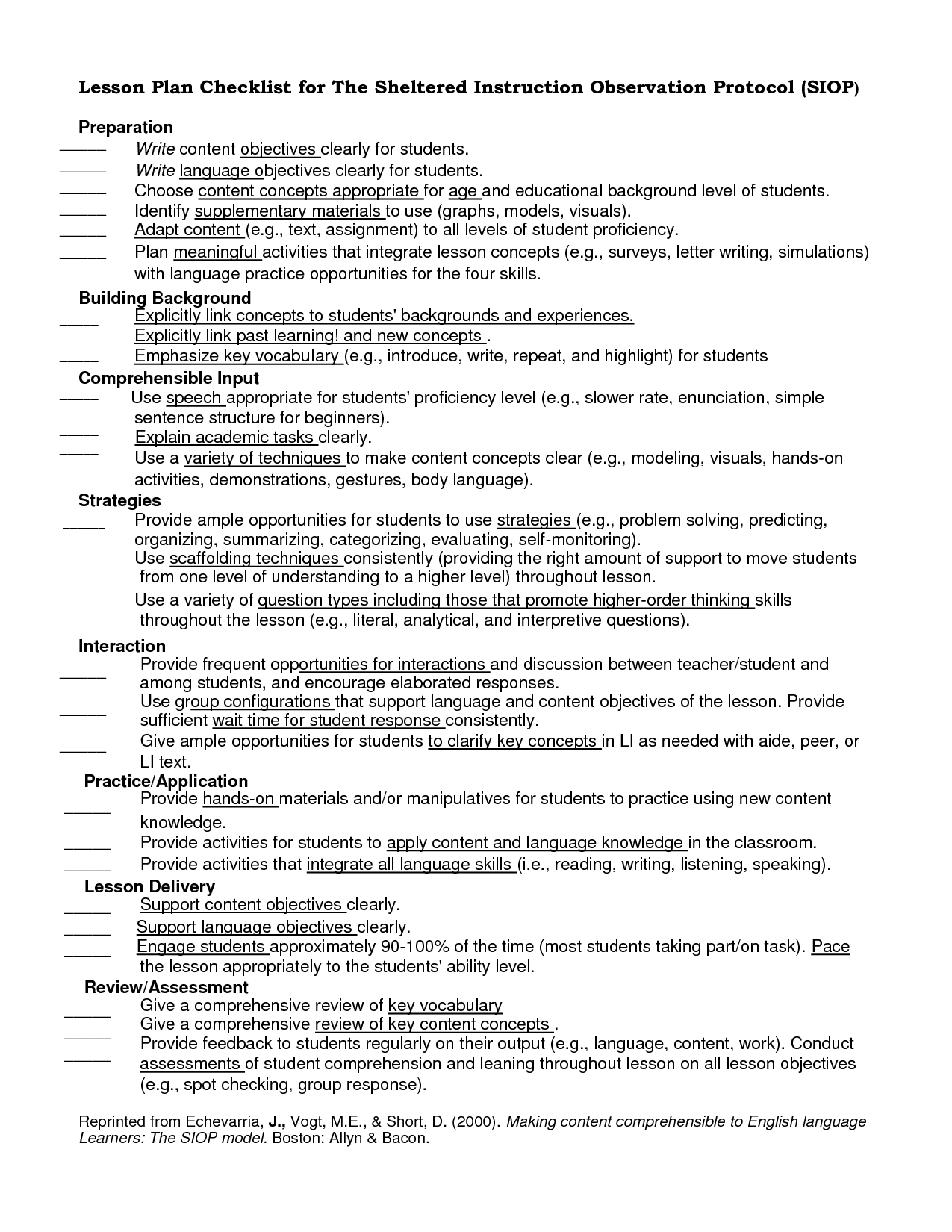 Lesson Plan Checklist For The Sheltered Instruction Observation Doc ...