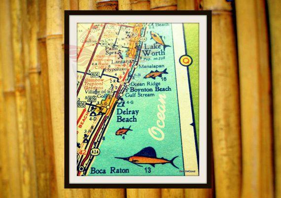 Florida Map Art Delray Beach Mid Century Map By Vintagebeachmaps