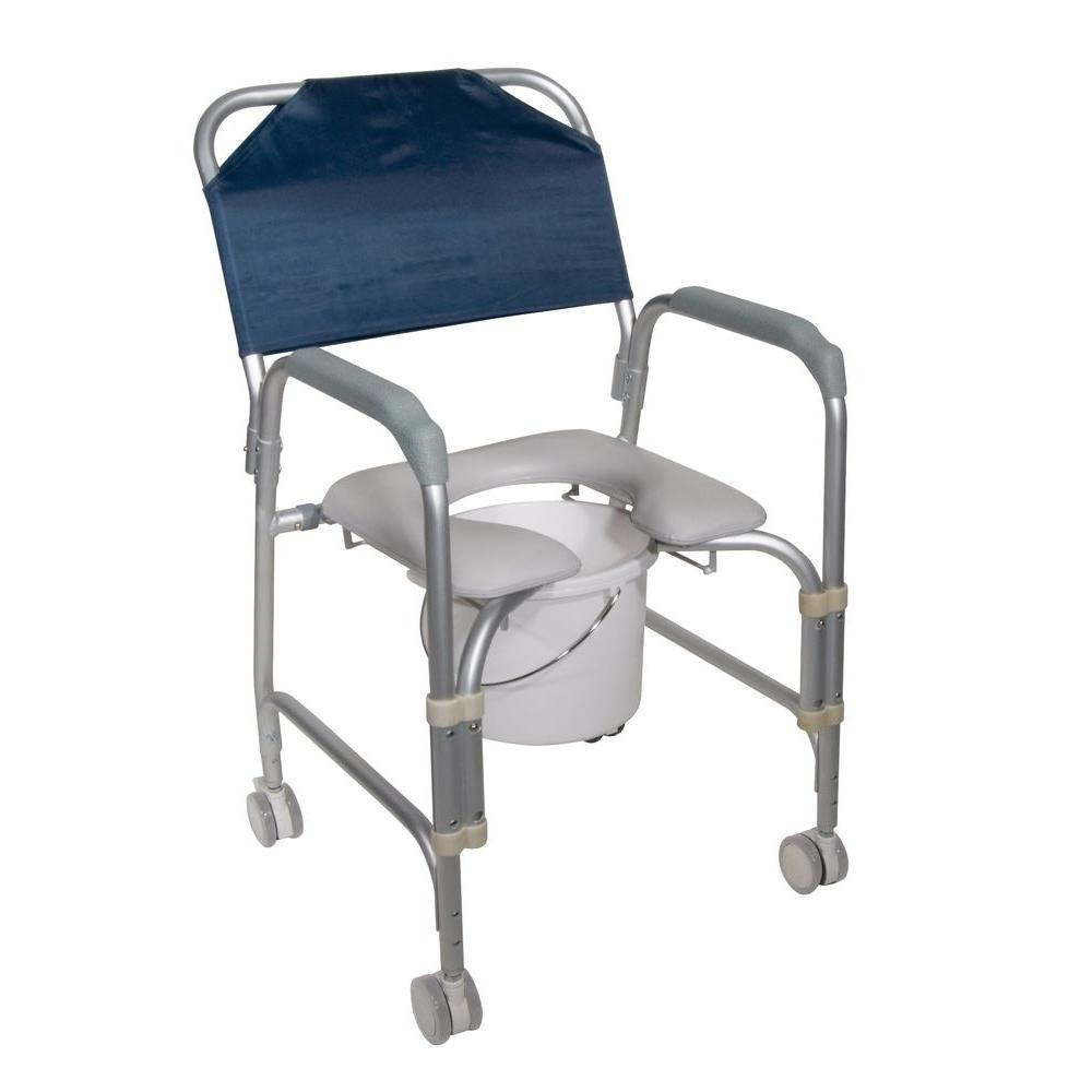 Drive Lightweight Portable Shower Chair Commode With Casters Grey Portable Shower Chair Shower Chair Shower Commode Chair