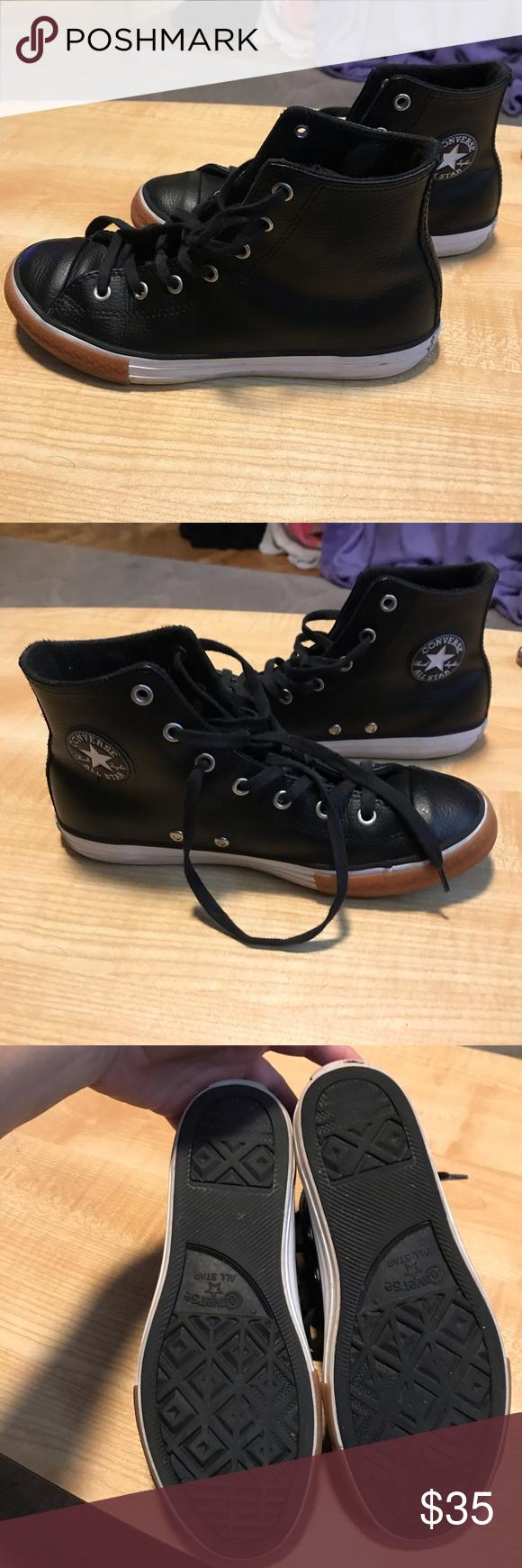 black leather converse junior