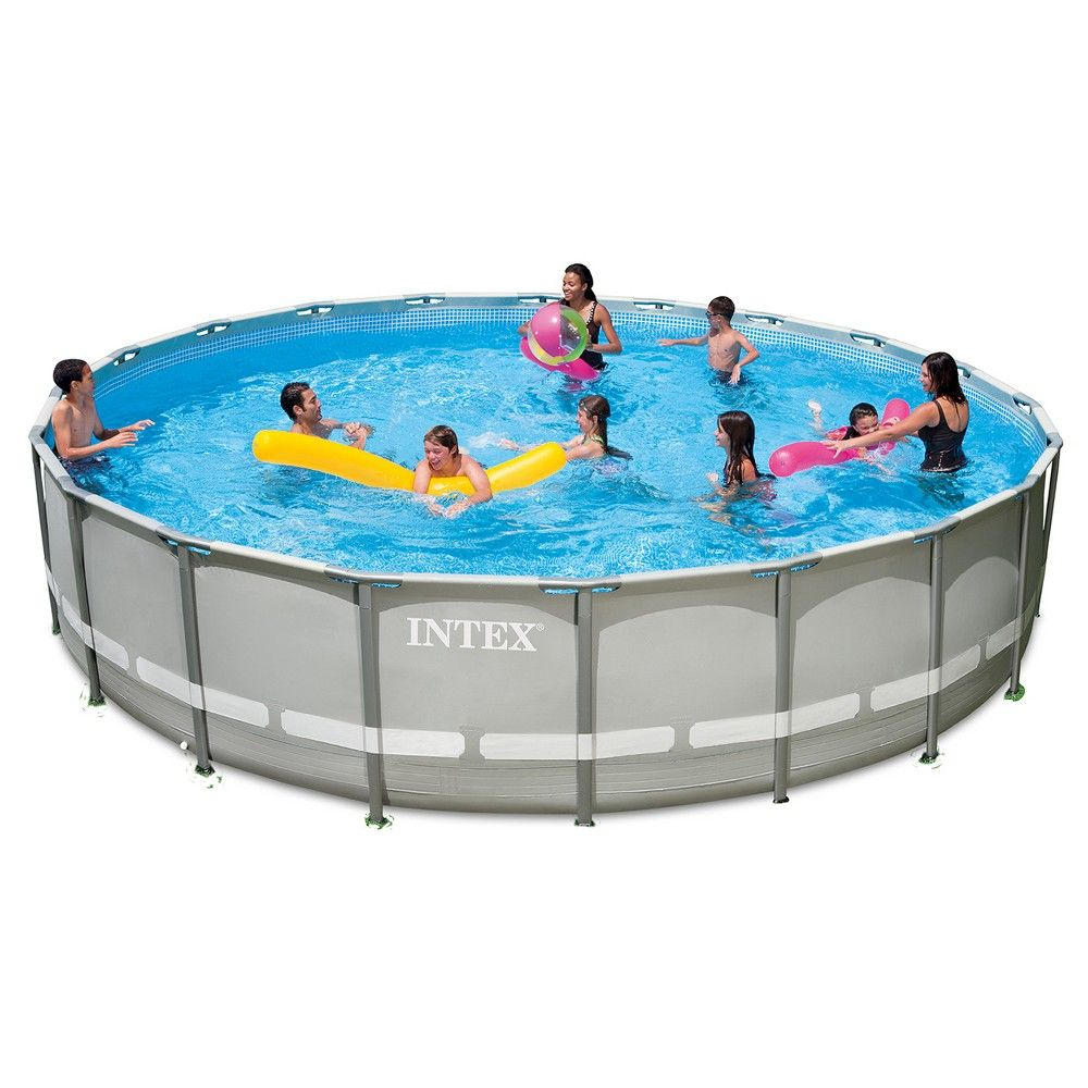 Intex 20\' X 52 Ultra Frame Above Ground Pool with Filter Pump, Grey ...