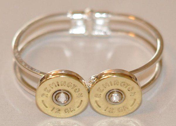 Remington 12 Gauge Shotgun Shell High Polish Brass Bullet Bracelet (Silver Plate) Spring Loaded Swarovski Crysta