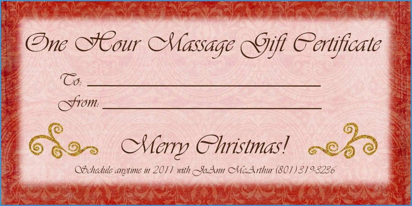 massage gift certificate free template