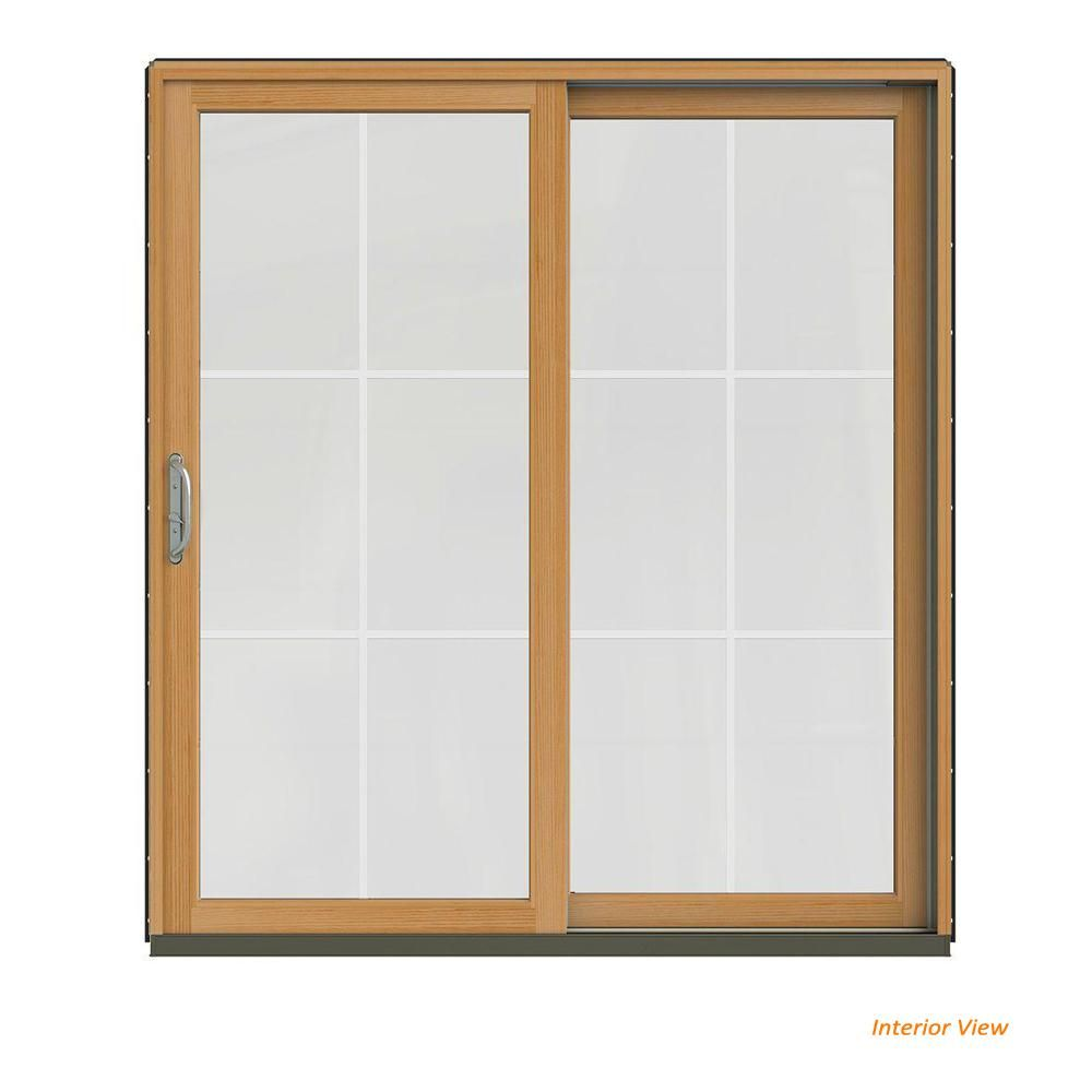 Jeld Wen 72 In X 80 In W 2500 Contemporary Bronze Clad Wood Left Hand 6 Lite Sliding Patio Door W Stained Interior Chestnut Bronze Sliding Patio Doors Patio Doors Interior Led Lights