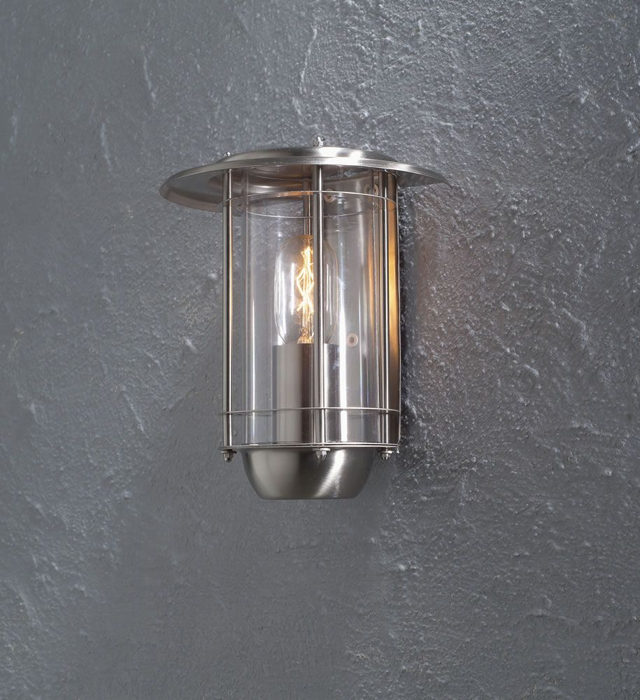 Konstsmide 1 Light Stainless Steel Wall Lamp With Clear Coloured Acrylic