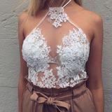 Summer Women Chiffon Blouse Shirts Crochet Lace Vest Sexy Open Back Sleeveless Shirt Tank Tops Blusas Femininas