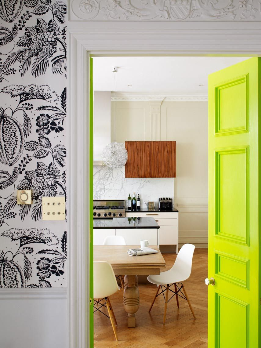 Bright neon door and black and white wallpaper colors color