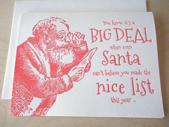 Letterpress christmas card , Santa's nice list , funny letterpress holiday  card , naughty and nice