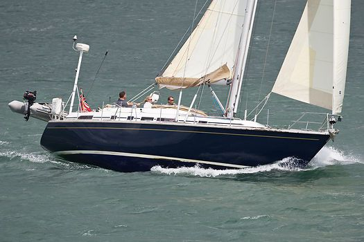 The Westerly 43 yacht 'Accomplice' sailing in a stiff breeze