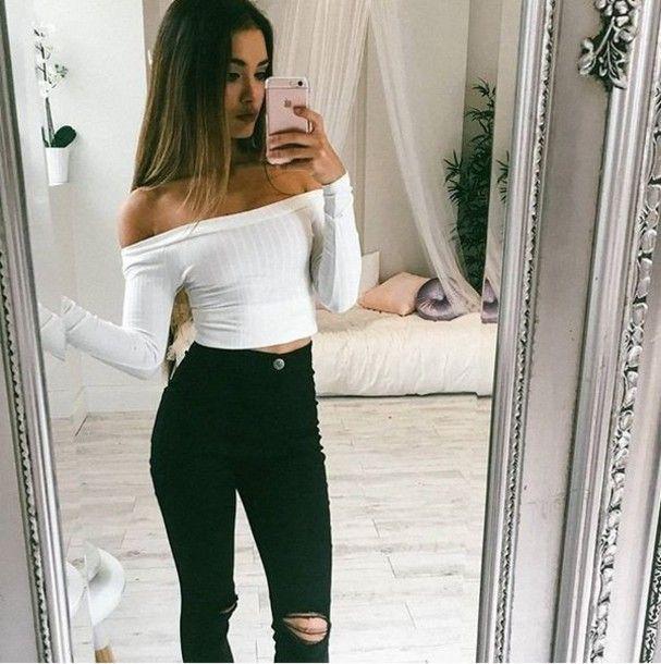 top girl girly girly wishlist white cute crop crop tops ...