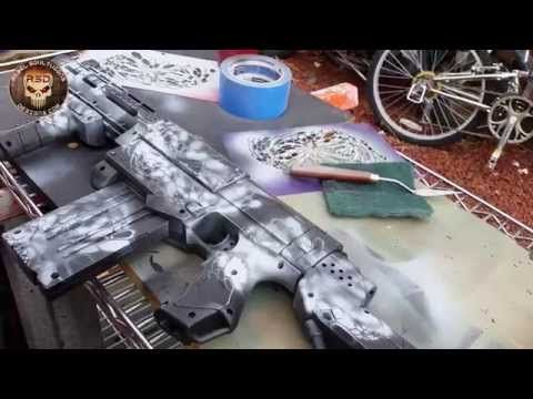how to paint your airsoft gun diy camo stencil paint job youtube