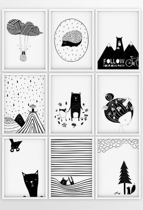 Set of 3 nursery prints animal black and white curious animals illustration nursery decor kids poster printable gift digital download white prints