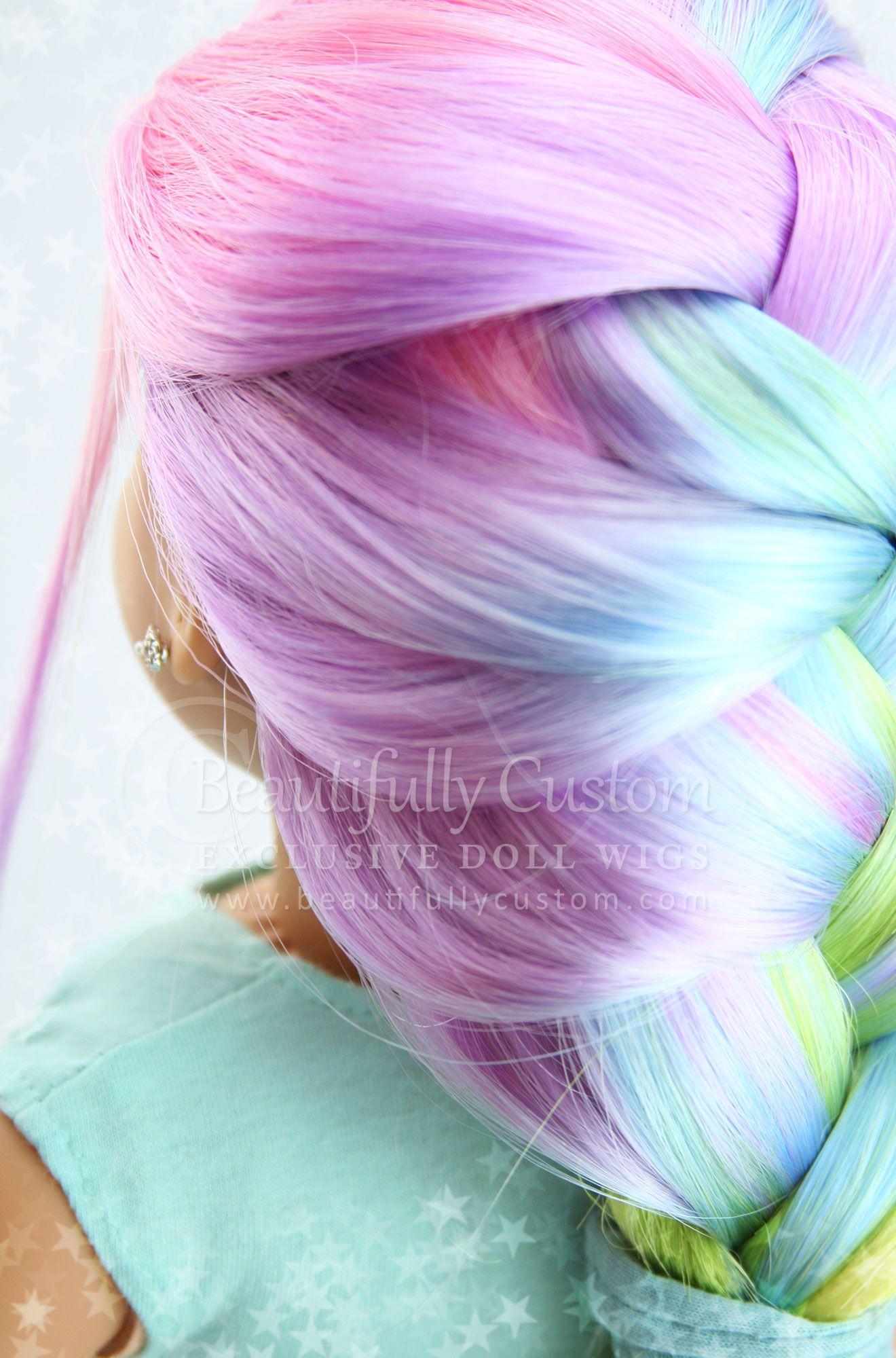 Pretty Pastel Elegance Doll Wig For American Girl Dolls Beautifully Custom Exclusive