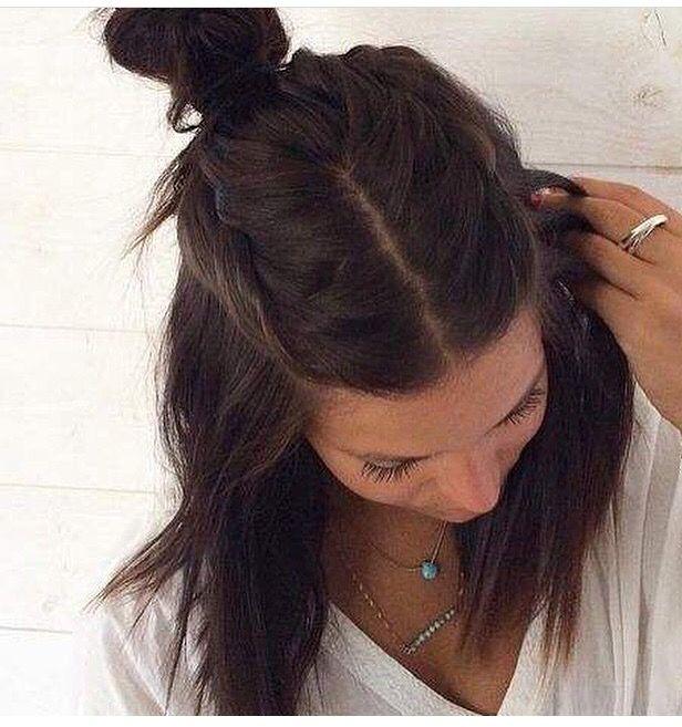 Pin By Maria Nagai On Hair Half Bun Hairstyles Hair Styles Medium Hair Styles