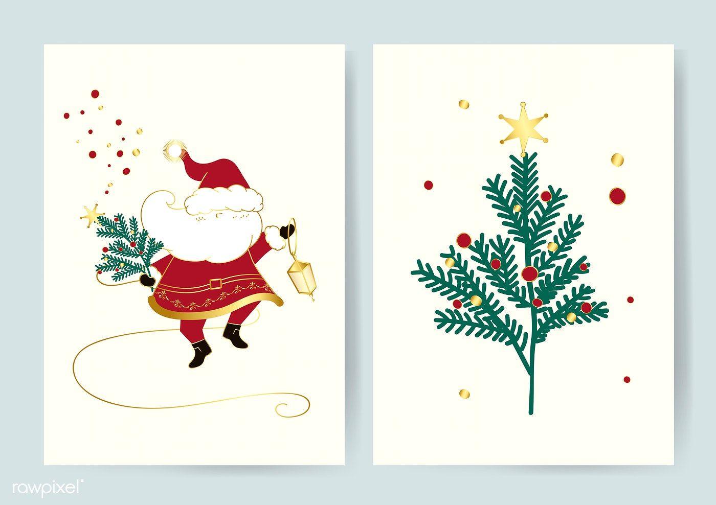 Santa And A Christmas Tree Card Vector Free Image By Rawpixel