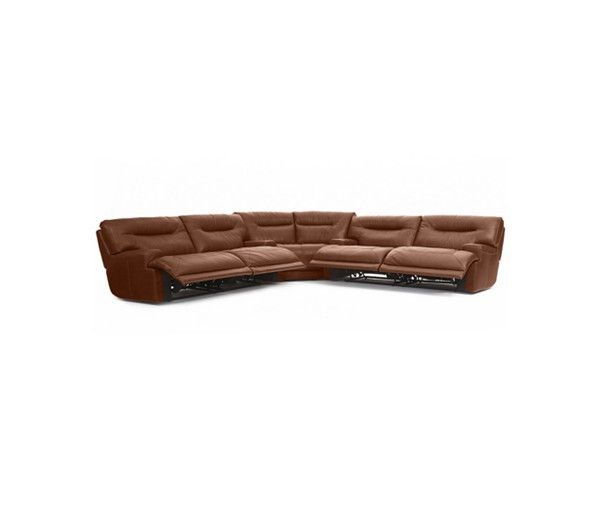 This soft, handsomely tailored leather sectional sofa promotes ultimate relaxation, featuring multiple electric-powered reclining mechanisms to ease you from upright to laid back with zero effort. High-resiliency foam cushions; industrial-strength webbing...
