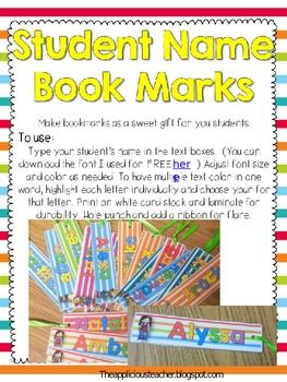 Student Name Bookmarks-Editable | Student teacher gifts ...