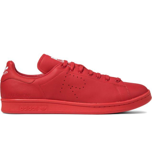 raf simons x adidas originali rosso / rosso / bianco stan smith le scarpe