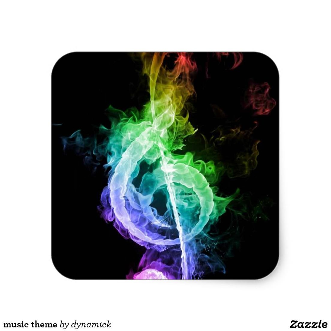 Music theme square sticker