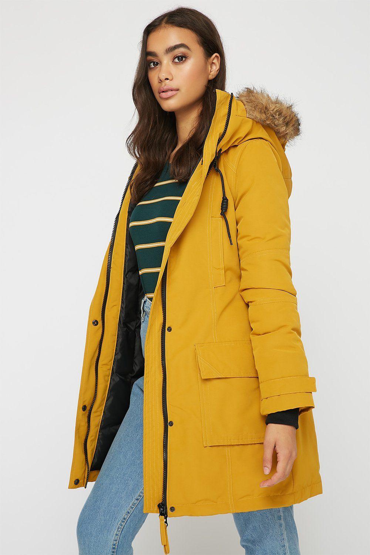 Women Outerwear Faux Fur Double Pocket Parka Jacket Mustard